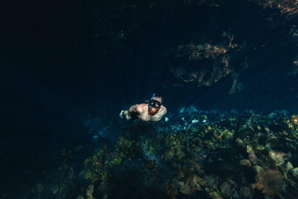 Snorkelling in a cenote, Tulum