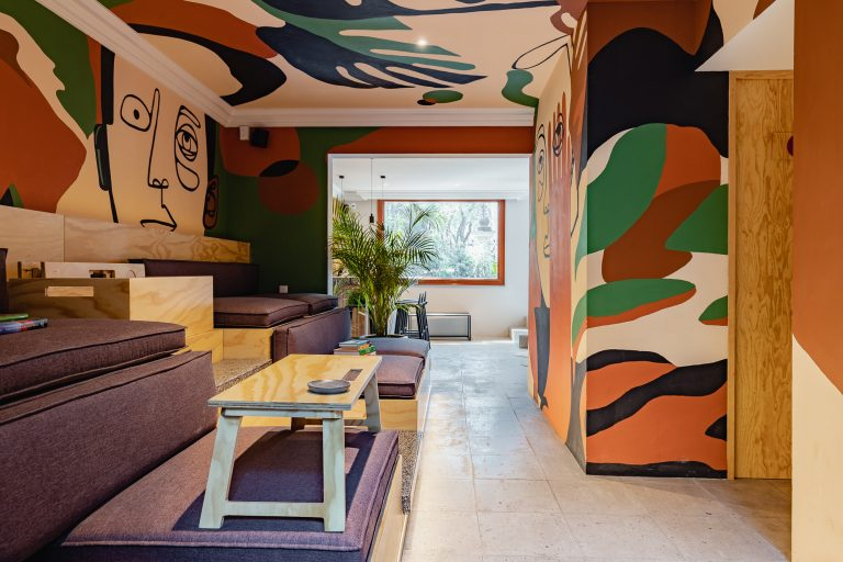 Casai Lobby painted by Mexico City artist, Rocca Mexican design