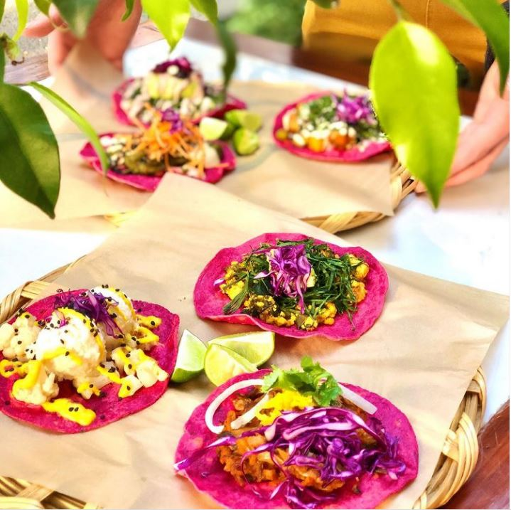 Pink tacos from La Pitaya Vegana